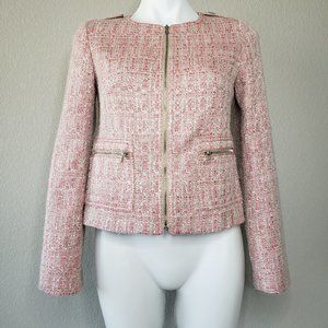 Talbots | Blush Pink Gold Hardware Tweed Blazer 2